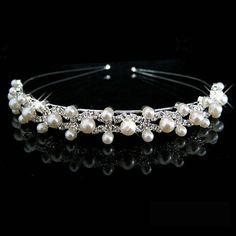 Festa de casamento de prata brilhante de cristal Rhinestone pérola cabeça Tiara de cabelo acessórios de cabelo meninas Hairwear