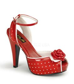 best sneakers 0d35b 2cb0d Pinup Couture Bettie Red Polka Dot Ankle Strap Sandal Pinup Couture, Red  Heels, Shoes