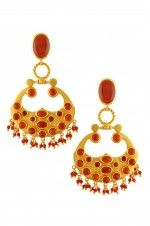 Tribebyamrapali-Silver Gold Plated Multi Shaped Red Onyx Drop Earrings
