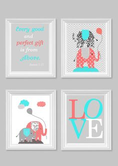 Elephant Nursery Art Aqua Coral Gray Baby Girl's Room Decor Bible Verse Art Love Every Good and Perfect Gift Quote 8 x 10 or 11 x 14 Prints