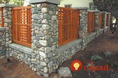 Outdoor, Wood And Stone Fence Designs With Cedar Fence Designs And Cedar Fences Designs: Deciding Appropriate Ideas of Cedar Fence Designs for Your Front Yard Looks Neat Stone Fence, Brick Fence, Front Yard Fence, Cedar Fence, Low Fence, Lattice Fence, Gabion Fence, Easy Fence, Wood Fences