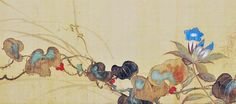 Detail. Autumn flowers. Japanese folding screen painting. A two-fold screen by Sakai Hoitsu (1761-1828). 19th century, Edo period. originally designed as a pair of sliding doors for an alcove or tokonoma. The scene depicts an autumn vine weaving rhythmically through bellflowers (kikyo) and pampass grass (susuki). Kikyo and susuki are two of the celebrated seven
