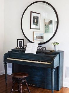"Tour the Eclectic Home of an L. Design Writer -- One Kings Lane: ""This Craigslist piano came with cigarette-burned keys and a saloon sound. Christine swears that no matter how many hints her kids' piano teacher drops, she'll never trade it in. Das Piano, Piano Music, Piano Living Rooms, Painted Pianos, Small Room Design, Foyer Decorating, Decorating Games, Decorating Blogs, Piece A Vivre"