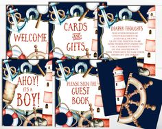 SALE Nautical Baby Shower Sign Bundle Package Nautical Baby Shower Printable Baby shower Nautical Baby BoyBaby Shower Sign