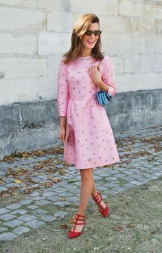 pink dress + red shoes