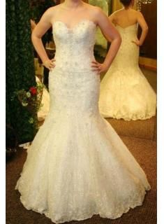 2013 Plus Size Wedding Dress Lace Beaded Sweetheart Mermaid/Trumpet Open Back White Bridal Gowns WD0223