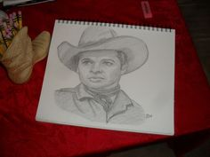 AUDIE MURPHY//REALISM GRAPHITE SKETCH SIGNED BY ARTIST BW #Realism