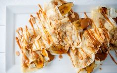 Roasted Banana Pancakes with Toasted Almonds and Caramel by (Banana, Caramel) @FoodNetwork_UK