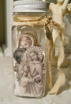 Religious themed jar of angels
