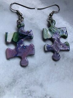 HANDMADE JIGSAW PUZZLE EARRINGS, COSTUME JEWELLERY. UNIQUE. SPARKLY | eBay
