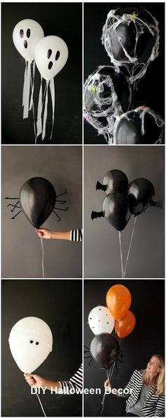 DIY Halloween Bat Balloons Tutorial and Template from Design Improvised. Nothing could be simpler to make than these DIY Halloween Bat Balloons. For all 6 of Design Improvised DIY Halloween Balloons go here. (via halloweencrafts) Comida De Halloween Ideas, Soirée Halloween, Halloween Balloons, Adornos Halloween, Manualidades Halloween, Holidays Halloween, Halloween Themes, Halloween Cosplay, Ideas For Halloween Party