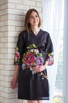 Mommies in Black Large Floral Robes