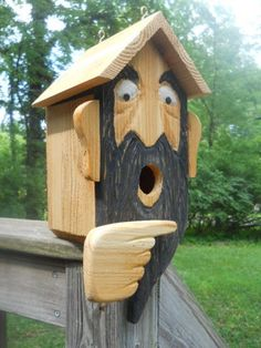 Birdhouse. Wood spirit carvings OOAK folk art 2 nest bird house Made in the USA.