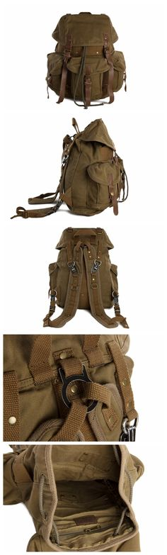 Wholesale High Quality Canvas Backpack, Shoulder Backpack, Canvas Leather Backpack