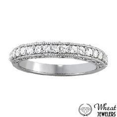 Diamond Wedding Band with Milgrain Edges and Antique Side Detailing available at Wheat Jewelers