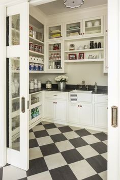 Martha O'Hara Interiors - best pantry ever, love the floors and the pocket doors. Mine may look a bit like this one when I'm done!