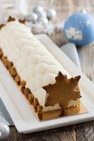 Bûche de Noël vanille et pommes tatin - Pâtisserie Köstliche Desserts, Dessert Recipes, Foto Pastel, Christmas Deserts, Christmas Log, Christmas Recipes, Pastry Design, Yule Log, Xmas Food