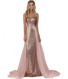 Sequins and chiffon, what more could you ask for in a prom gown!? This jaw dropping rose gold sequined gown features a sleeveless, bateau neckline with sexy sheer illusion embellished mesh both at the neckline and the sheer back. An embellished empire wai