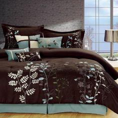 Amazon.com - Chic Home Vines 8-Piece Comforter Bedding Set, Brown, King - King Size Comforter Set