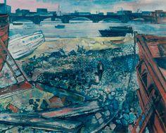 "John Minton ""The Thames at Chelsea x 90 cm Government Art Collection UK John Minton, Leeds Art Gallery, Royal College Of Art, River Thames, Art Uk, London Art, Landscape Paintings, Landscape Art, Art Paintings"