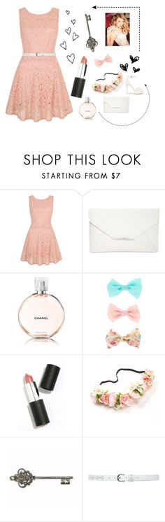 """Peachy pink in spring"" by annasfashions ❤ liked on Polyvore featuring Yumi, Style & Co., Chanel, Sigma Beauty, M&Co and Nly Shoes"