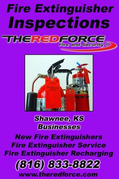 Fire Extinguisher Inspections Shawnee, KS (816) 833-8822 Call the Experts at The Red Force Fire and Security.. We are the complete source for Fire Extinguisher Service for Local Kansas Businesses We would love to hear from you.. Call us Today!