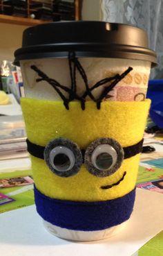 Minion cup cozy felt