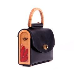 fc845de1da2 Black Genuine Leather Evening Handbag with Shoulder Strap Crossbody Top  Handle Bag AURORA Mini with Leather