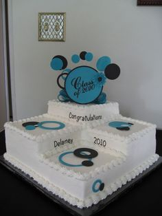 """3 Step Graduation Cake 3 step 2 layer 12"""" cake with gumpaste and fondant. Topper with stenciling."""