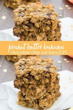 Peanut Butter Banana Chocolate Chip Oat Bars are flourless, contain no refined sugar and come together in less than 10 minutes in one bowl! Banana Oatmeal Bars, Peanut Butter Banana Oats, Banana Granola, Granola Bars Peanut Butter, Healthy Peanut Butter, Healthy Food, Chocolate Chip Cookie Bars, Chocolate Chip Oatmeal, Chocolate Bowls