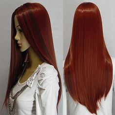 New Cosplay Long Dark Red Mixed Straight Human Manufacture Hair Wig - USD $ 25.99