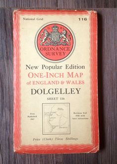 The Ordnance Survey  New Popular Edition One Inch Map of England & Wales. Sheet 116 Dolgelly. A 1947 copy with revisions from the earlier 1918 map. This one is the cloth backed version, originally costing three Shillings, which were much more durable than the cheaper paper version.  In nice condition, with slight wear to the edges of card cover and crease marks to Map.  Map measures 27.2 by 31,6 when open, and 8.2 by 4.6 closed.  We also have more vintage maps...please see our other listi...