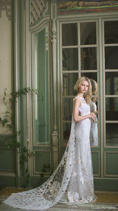 claire pettibone fall 2016 sleeveless illusion jewel v neck fully embellished lace vintage sheath wedding dress low back watteau train (whitney) mv