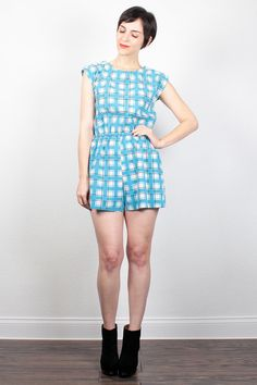 Vintage 80s Romper Teal Blue Gray Plaid Playsuit 1980s New Wave Shorts Jumper Summer Shortalls Hipster Playsuit One Piece S Small M Medium by ShopTwitchVintage #vintage #etsy #80s #1980s #romper #playsuit #plaid #shorts #jumper #shortalls