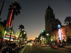 Hollywood Blvd. at night.