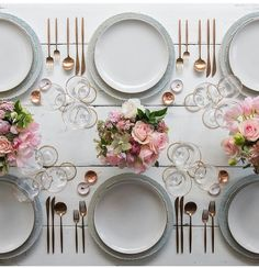 Dusty Blue Lace Chargers + Heath Ceramics in Opaque White + Moon Flatware in Rose Gold + Gold Rimmed Stemware + White Enamel/Copper Salt Cellars + Tiny Copper Spoons [Casa de Perrin] Heath Ceramics, Beautiful Table Settings, Table Set Up, Dinning Table, Deco Table, Decoration Table, White Enamel, Event Decor, Tablescapes