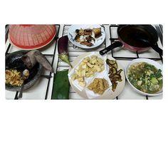 sambal gandaria fruit + fried tofu + fried tempe + fried eegplant + collards meat w/ egg and sesame oil + fried milkfish