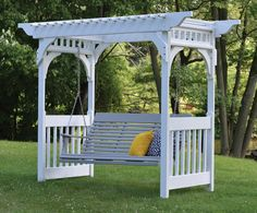 """Holds up to a 5' swing (swing sold separately). Available in White or Clay. FREE SHIPPING! Dimensions: 50"""" W x 102"""" L x 84"""" H Weight: 466 lbs Includes anchors and hooks. Assembly Required"""