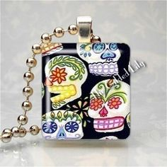 SUGAR SKULLS Mexican Mexico Day Of The Dead Scrabble Tile Altered Art Pendant