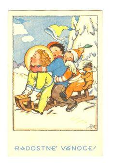 Old Czech Christmas Card Marie Fischerová Kvěchová 1942 Christmas Cards, Christmas Postcards, Vintage Children, Gnomes, Woodland, Illustration Art, Drawing, Comics, Retro