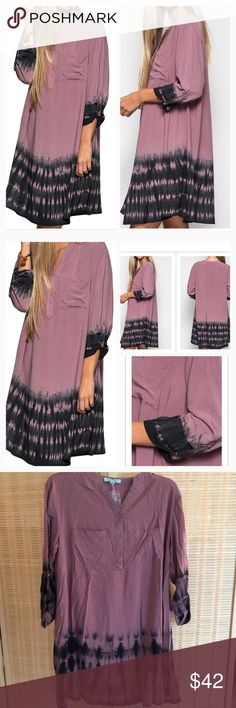 Tie Die Dye Shift Dress Dusty Mauve Trendy dress with rolled up sleeves and front pockets. 70% Cotton 30% Polyester.                 S  is U S 4-6 Bust 33.5-35 M is US 8-10 Bust 36-38 L is US 12-14 Bust 38-40 L 34 No stretch PRICE FIRM unless bundled! NO TRADES!  Please ask all questions before purchasing. Boutique Dresses