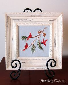 """Stitching Dreams"""" Outside My Window"""" by Lynn's Prints (from the 2005 Just Cross Stitch Christmas Ornament issue)."""