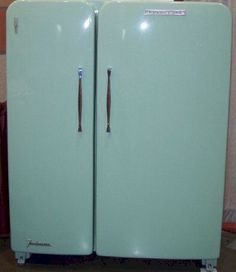 Amazing vintage light green refrigerator.. with side by side doors. And completely renovated. It is perfect!