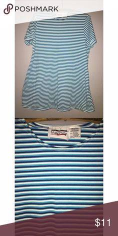 "Striped Short Sleeve Maternity T-Shirt Sz Medium New additions Maternity shirt sleeve t-shirt. Navy, turquoise and white stripe shirt. Size medium fit and flare- fitted on the top and flares out to comfortably accommodate a growing tummy. Measures 20"" armpit to armpit. Length is 30"" from shoulder to bottom. Please ask any and all questions prior to purchase. Tops Tees - Long Sleeve"