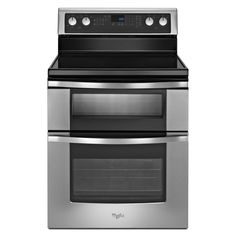 This freestanding electric double oven range offers an extra large oven window and Sabbath mode as well as a self-cleaning system. This innovative design in available in monochrome stainless steel, black or white.