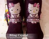 Czech  Crystal Bling Bling Purple Wool Boots With Dress Hello Kitty