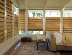 Wake up to these gorgeous bedroom window treatments that adjust from the top or bottom to bring in just the right amount of light––Alustra Vignette® Modern Roman Shades ♦ Hunter Douglas window treatments