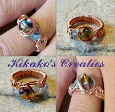 Ring,  Wirewrapped koperdraad met glaskralen www.facebook.nl/kikakoscreaties