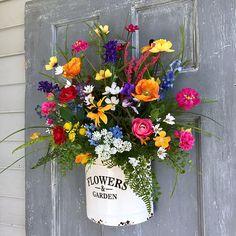Spring Wreath-Wildflower Wreath-Farmhouse Decor-Summer Wall