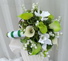 emerald+green+wedding+flowers | Emerald green Wedding bouquet calla lily orchid lily of the valley ...